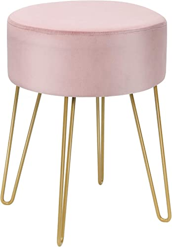 """new arrival Giantex Velvet Footrest Stool discount Round Modern with Gold Sturdy Metal Legs, Upholstered Seat Dressing Vanity Chair Side Table high quality for Living Room & Bedroom Velvet Footstool Ottoman (15.5"""" x 15.5"""" x 18"""", Pink) online sale"""