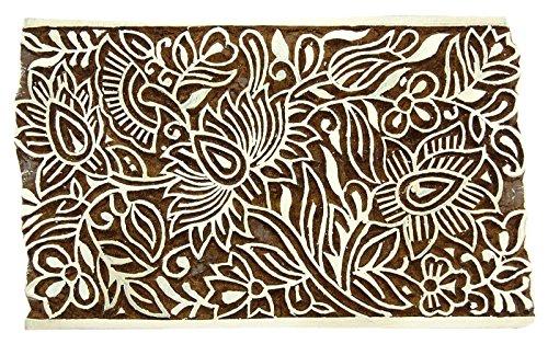 Knitwit Blumenmuster Stempel Block handgeschnitzter hölzerner Textilstempel Block Drucken
