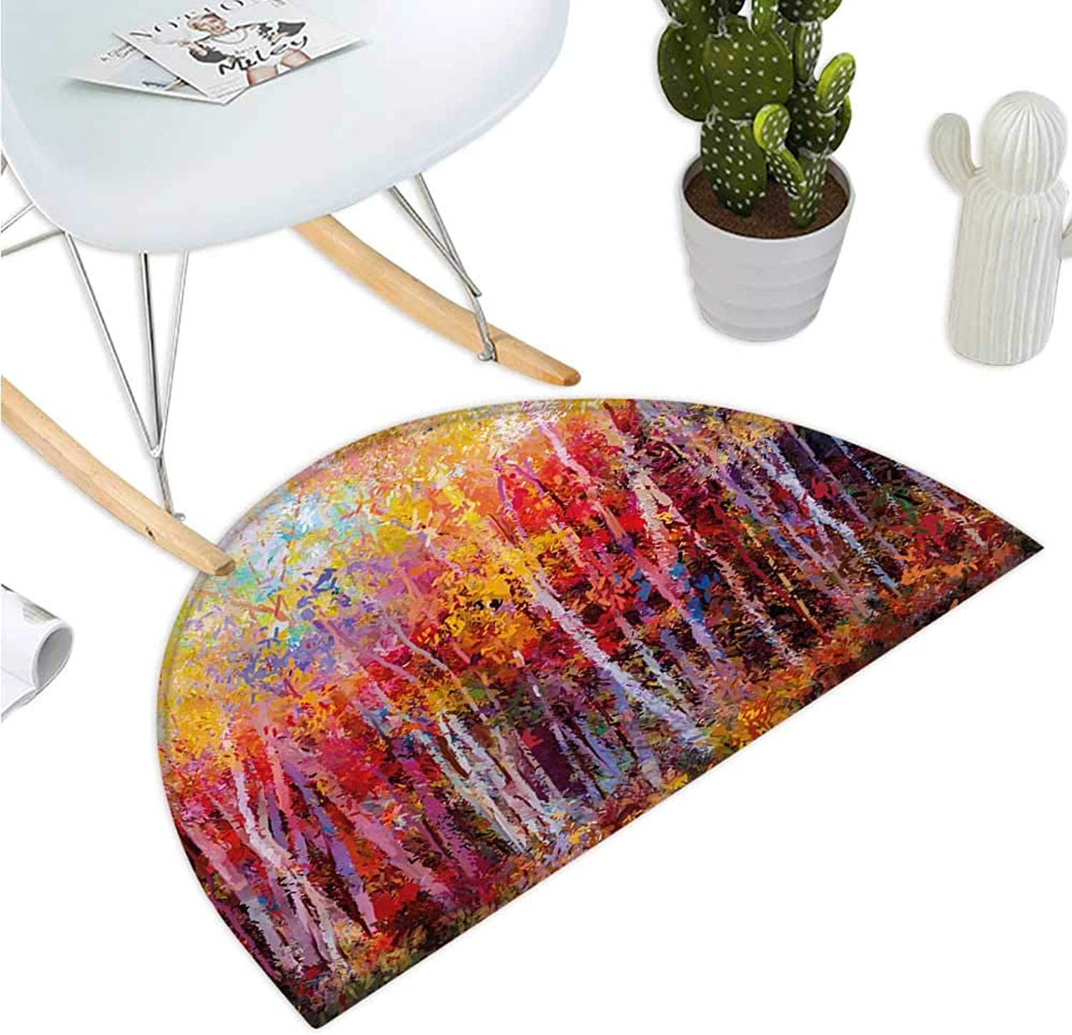 Nature Semicircle Doormat Vibrant Nature Painting with Trees in The Autumn Forest Impressionistic Artwork Halfmoon doormats H 39.3  xD 59  orange Yellow