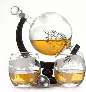 casavetro Whisky Karaffe 900 ml Mundgeblasen GLOBUS und 2 Gläser Set je 350ml Glas-Karaffe Welt Dekanter Flasche 0,9 Liter l Glasflasche Likör Schnaps Wein Karaffe Dekantierer Globus Holz Set