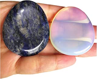 Loveliome Thumb Worry Stone, Stress Relax Healing Reiki Crystal Pocket Palm Stones,Opalite and Sodalite,Pack of 2