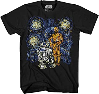 STAR WARS Starry Night R2-D2 C-3PO Van Gogh Adult Men's Graphic Tee Apparel T-Shirt