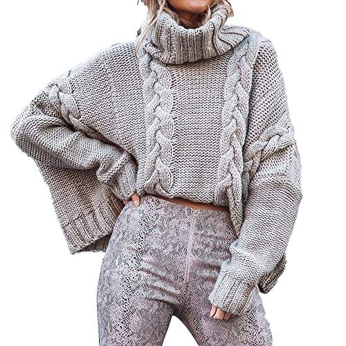OUlike vrouwen kabel gebreide coltrui casual dikke lange mouwen tops trui nieuwste vrouwen winter trui