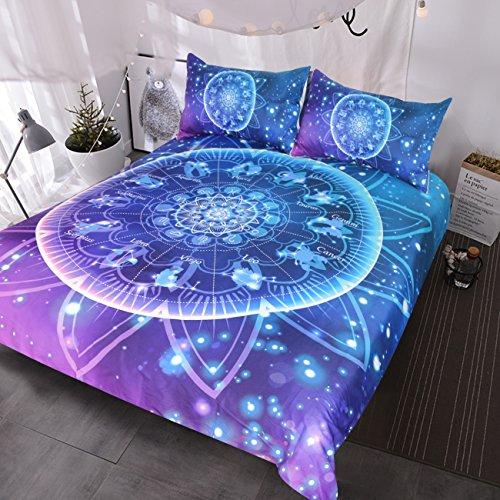 BlessLiving Zodiac Bedding Lotus Mandala 3 Pieces Bling Glitter Galaxy Burgundy Bedding Set Astrology Hippie Duvet Cover Set (Queen)