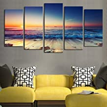 SHENYUAN-Paintings Micro-spray Canvas Wall Art Home Living Room Porch Oil Painting 5 Pcs Sunset Seaside Wall Painting Study Paintings Porch Murals (20*30cm*2 20*40cm*2 20*50cm*1 Inner Frame Painting)