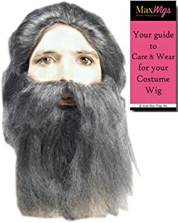 Coal Miner Wig and Beard Set Color Brown - Lacey Wigs Prospector Santa Grumpy Troll Recluse Hermit Bundle with MaxWigs Costume Wig Care Guide