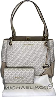 MICHAEL Michael Kors Nicole Large Shoulder Tote bundled with Michael Kors Jet Set Travel Large Trifold Wallet (Signature M...