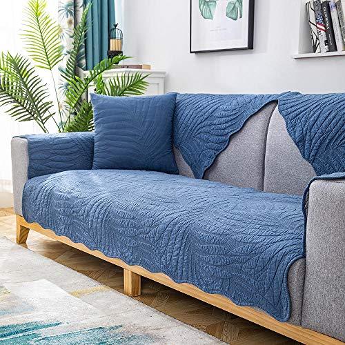 YUTJK Nicht elastisch Sofa überwurf Chaise Longue Linke und rechte Liege, frontansicht, Chenille, Schnittmuster Sofa Handtuch, für Winter, Blau