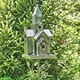 Zaer Ltd. Large Galvanized Multi-Birdhouse Stakes, Room for 4 Bird Families in Each (Church Design)
