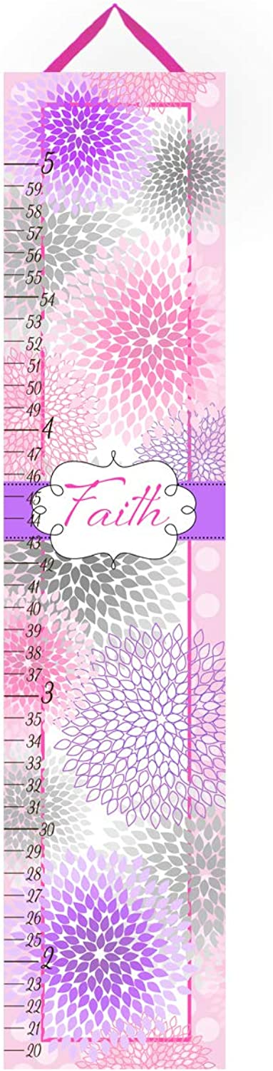 Personalized Kids Canvas GROWTH CHART Pink Grey and Purple Mums Flowers Baby Nursery Canvas Growth Chart GC0252