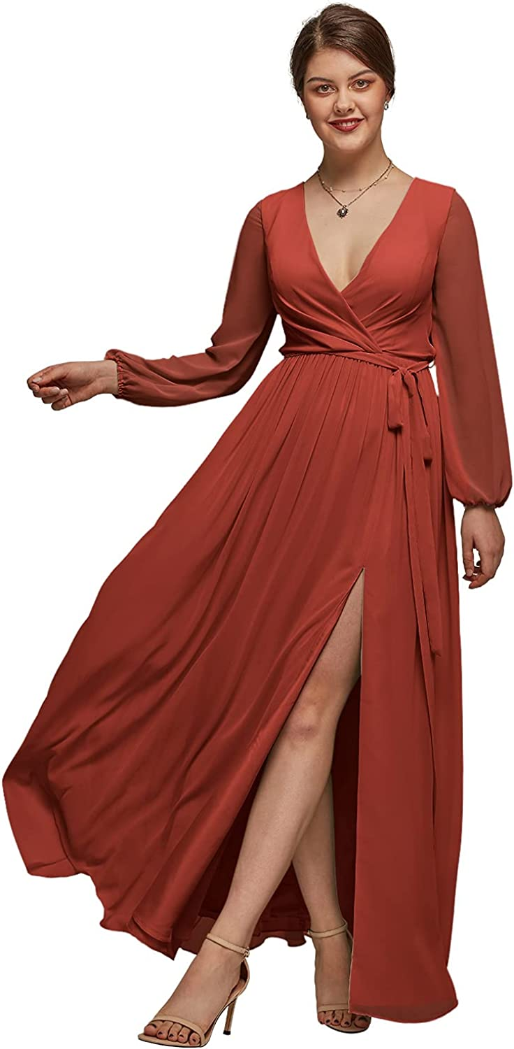 AW BRIDAL Chiffon Long Sleeve Plus Size Bridesmaid Dresses for Party Wedding Formal Prom Maternity Gown
