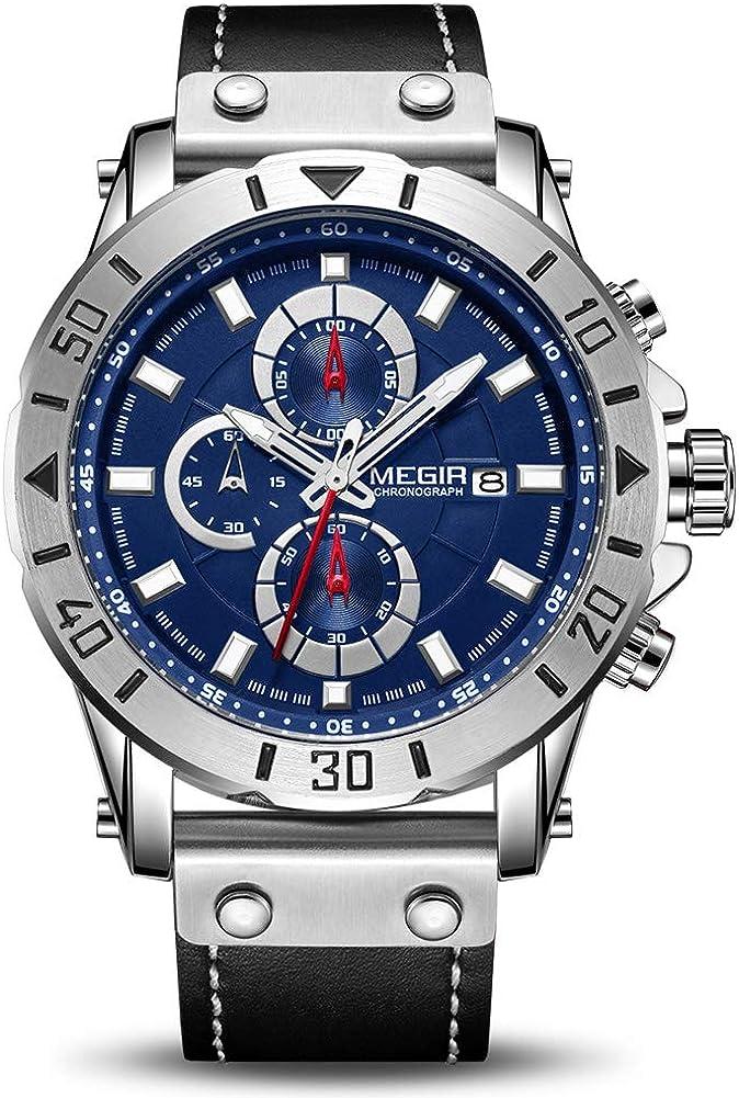 MEGIR Reloj de pulsera para hombre, correa de piel, analógico, militar, deportivo, cuarzo, cronógrafo y calendario
