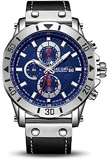 Mens Watches Waterproof Analogue Quartz Watch Men Luminous Leather Strap Wrist Watch Fashion Date Watches for Men