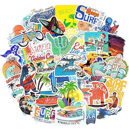 Surf Stickers for Teens Girls Surfing Laptop Stickers for Water Bottles Surfboard Waterproof Vinyl Stickers Surfer Stickers Pack 50Pcs
