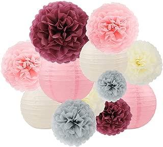 ZJHAI 24pcs Paper Lantern Decorations, Dusty Rose, Gray, Beige, Blush Pink Paper Pom Poms, Paper Lanterns for Party Decoration, Baby Shower, Wedding Decorations