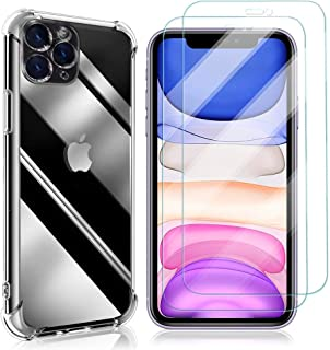 Zhuofan For iPhone 6/6s Case + [2 Pack] Tempered Glass Screen Protector, Ultra Thin Silicone Transparent TPU Case Airbag A...