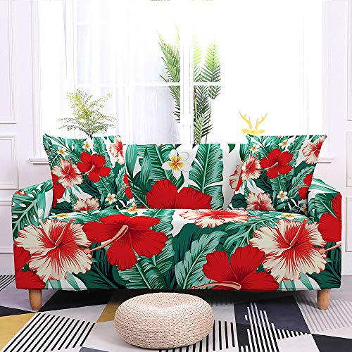 Stretch Sofa Slipcover,Leaves Flower Print Non-Slip Soft Geometric Couch Covers,Washable Furniture Protector,For Living Room Corner Sectional Couch Cover,Adjustablea Elastic Bottom,Red Flower,2Pcs Pil