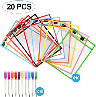DEXING 10 Pack Dry Erase Pockets Assorted Colors Sheet Protectors Reusable Office Supplies Ideal for Teaching Learning School Work
