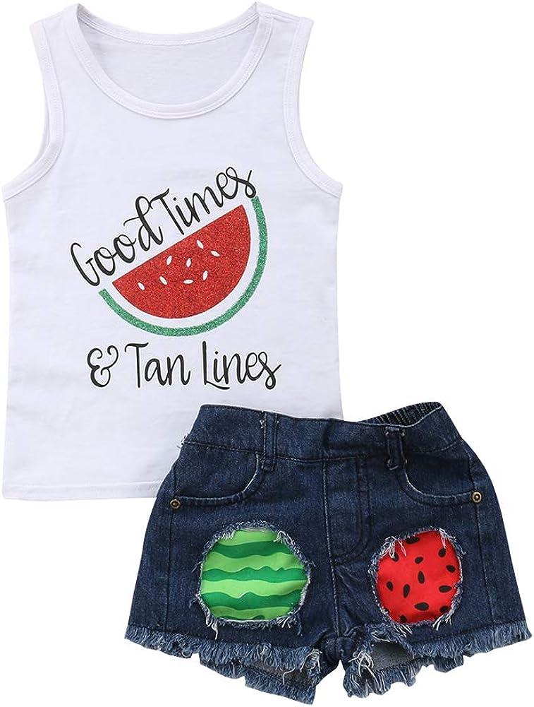 Honganda 2Pcs Toddler Kids Baby Girl Watermelon Outfits Sleeveless Tank Top+Denim Shorts Summer Clothes