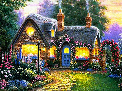 DIY 5D Diamond Painting Kits Full Drill,Crystal Rhinestone Cross Stitch Diamond Painting Adults/Kids Mosaic Pictures Embroidery Art Craft for Home Wall Decor(Flower House 30x40cm/12x16in Square Drill)