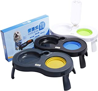 ZZmeet New Pet Dogs Double Bowls Adjustable Height Feeder Water Single Elevated Fold Pet Bowl Dog Cat Bowl Pets Products
