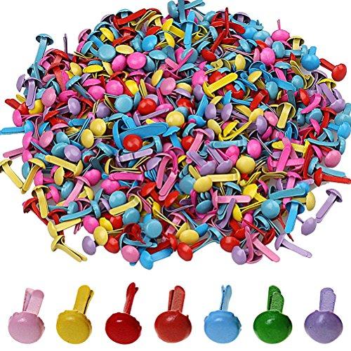 Wowot - 500 mini fermacampioni, testa rotonda, per carta, album, progetti creativi, multicolore (colore casuale)