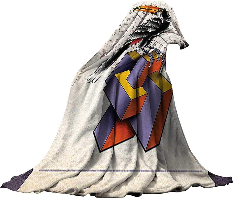 QINYAN-Home Weave Pattern Extra Long Blanket (60 x36  Lightweight Blanket Extra Big Trippy Art Decor Polygonal Overlap Interlace Lines Beaked Bird Thematic Fantasy Artistic Print Multi.