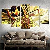MPPSU Caballeros De Dibujos Animados-Saint-Seiya-Zodiac 5 Paneles Impresión HD Cuadros Decoracion Dormitorios Salon Modernos 150Cm×80Cm Con Marco