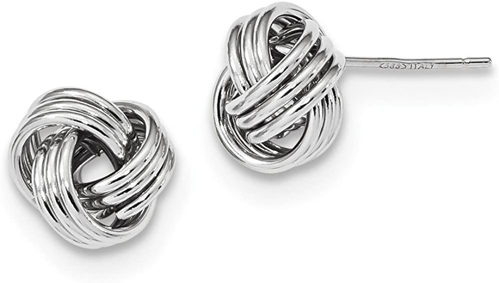 14k White Gold Triple Love Knot Post Stud Earrings Ball Button Fine Jewelry For Women Gifts For Her