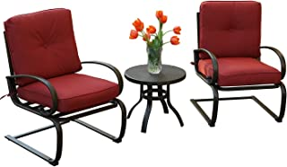 Kozyard Susan 3 PCs Patio Bistro Set Outdoor Furniture for Patio, Garden, and Yard with Cushioned Seats(Burgundy)