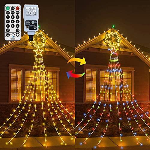 Outdoor Fairy Light Mains Powered Star Curtain Light Plug In 335 LED...