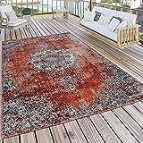 Paco Home Alfombra Exterior Interior Cocina Balcón Terraza Vintage Oriental Gris Rojo, tamaño:80x250 cm