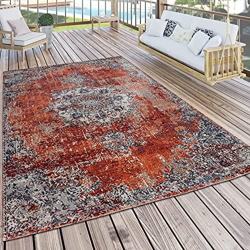Paco Home In-& Outdoor Teppich Küchenteppich Balkon Terrasse Vintage Orient Muster Grau Rot, Grösse:160 cm Rund
