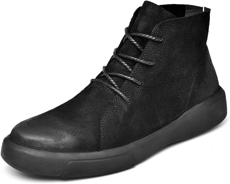 ZHRUI Men Boots Lace Up Winter with Fur Leather shoes Men Casual Warm Rubber Ankle Snow Sneakers (color   Black Fur, Size   10 UK)