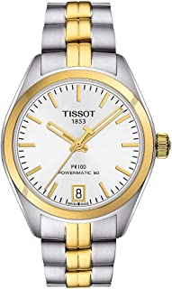 ساعة تيسوت PR 100 باور ماتيك فضية مينا للسيدات T101.207.22.031.00