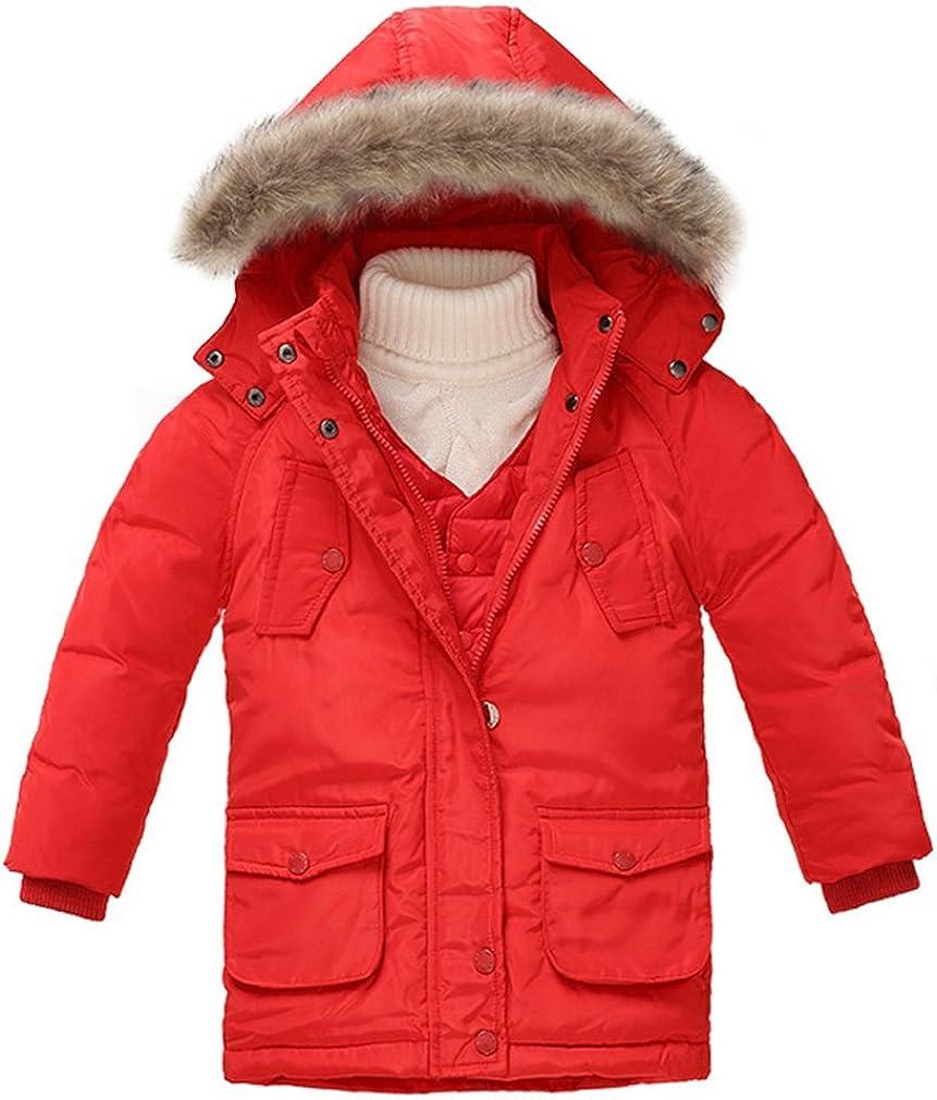 Kid Boys' Winter Hooded Down Puffer Coat Vest Set Red 3-4