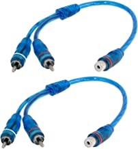 uxcell Car Audio RCA Female to 2 RCA Male Splitter Adapter Cable Blue 2 Pcs