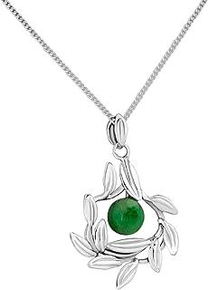 Martha Vargas: Dije medallón con cadena de plata ley .925 colección olivos hojas con cuenta.