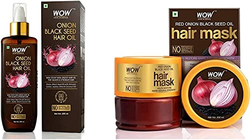WOW Skin Science Onion Black Seed Hair Oil - Controls Hair Fall - No Mineral Oil, Silicones And WOW Skin Science Red ...