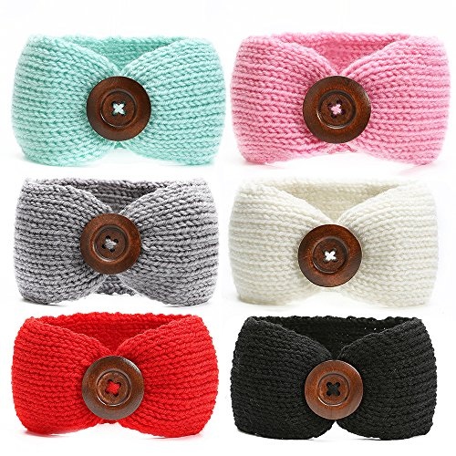 Ranipobo Pack of 6 Baby Girl Knit Crochet Turban Headband Warm Headbands for...