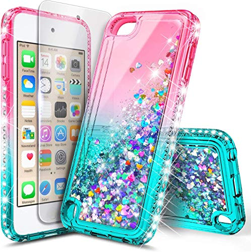 E-Began iPod Touch 7 Case, iPod Touch 5/6 Case with Screen Protector, Glitter Liquid Floating Gradient Quicksand Bling Diamond, Durable Girls Cute Case for iPod Touch 7th/6th/5th Generation Pink/Aqua