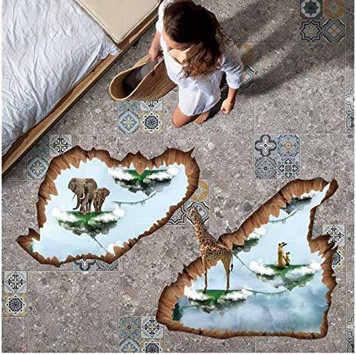 Creative Islands 3D Stickers De Plancher Éléphant Girafe Animaux Wall Sticker Art Décor À La Maison Pour La Chambre D'enfants Vinyle Décoratif Pour Le Mur 87 * 74 Cm