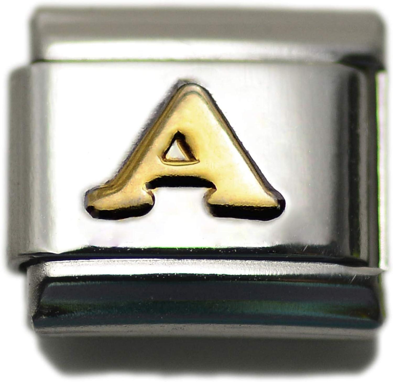 Initial A Letter Alphabet, 9mm Type Italian Modular Charm Bracelet Link - Stainless Steel
