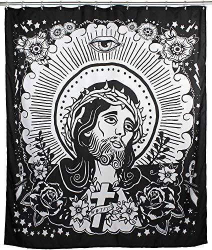 Too Fast Duschvorhang Mit Motiv Blickdicht Aus Stoff Mit 12 Ringen 185 x 180 cm (Jesus)
