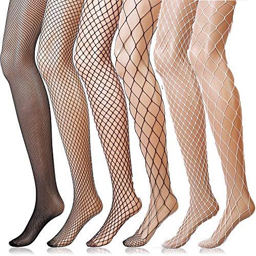ANDIBEIQI 6 Pairs Fishnet Strümpfe Strumpfhosen Nutzstrumpfhose für Damen Netzstrümpfe