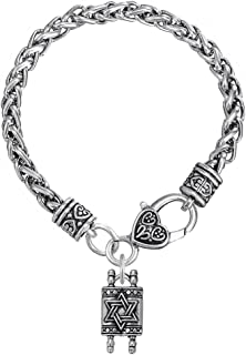 Religious Charm Star Of David Jewish Hebrew Torah Scroll Bracelet for Men and Women Jewelry