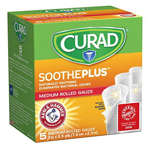 CURAD SoothePLUS Rolled Gauze with ARM & Hammer Baking Soda, 3' x 2.5 yds, 5 Count