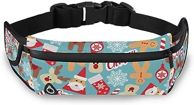 Kerstmis Rendier Kerstman Taille Pack Bag voor Fietsen Fitness Oefening Waterdichte Verstelbare Workout Fanny Pack Vrouwen...