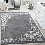 Paco Home Tapis Design avec Motif Floral Fil Scintillant Gris Blanc Anthracite...