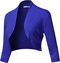 SSOULM Women's 3/4 Sleeve Open Front Bolero Shrug Cardigan with Plus Size